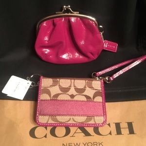 NEW Coach raspberry Kisslock Case+ID wallet SET